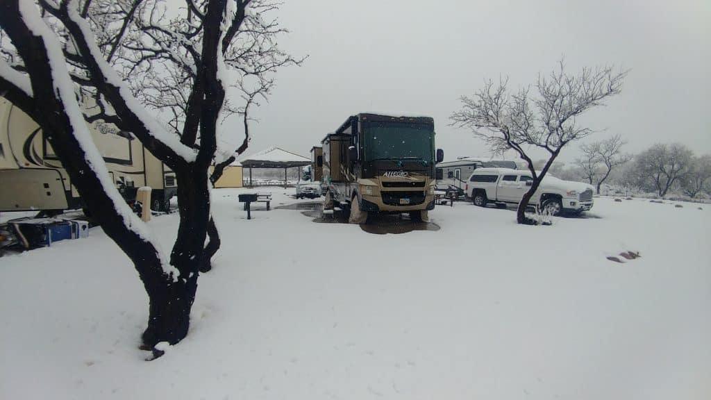 Campsite Sierra Vista Arizona snowing