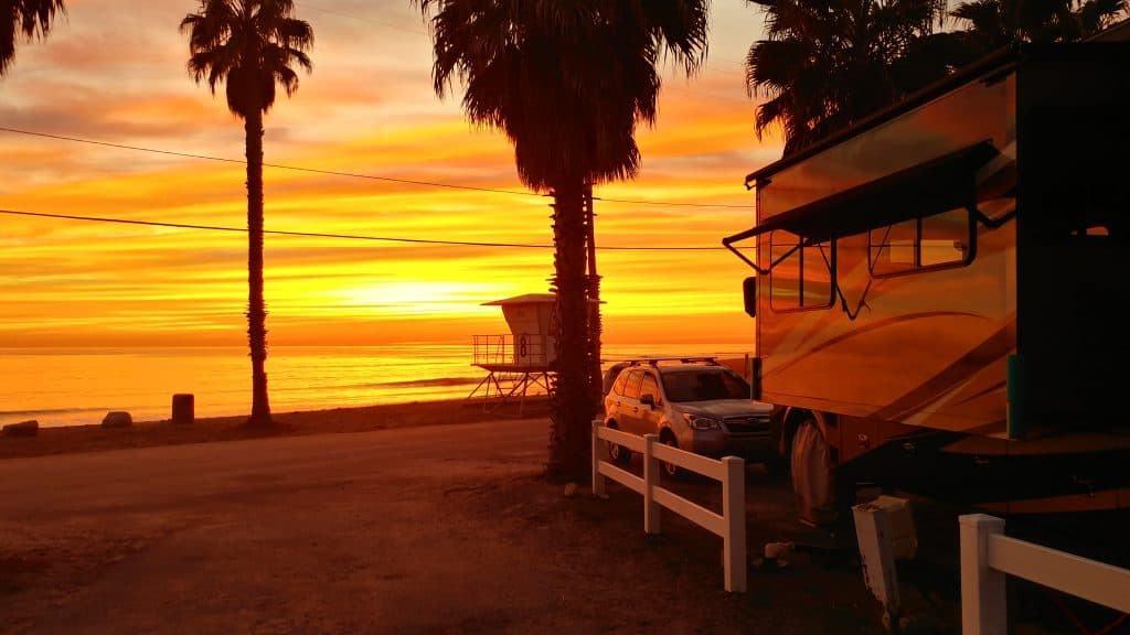 San Diego California Campground Sunset