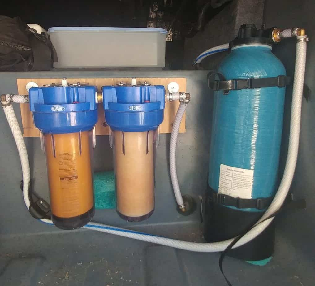 Water Filter and Water Softener in Storage Compartment