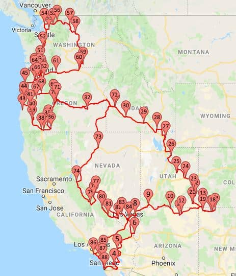 2018 Route Wandering the West