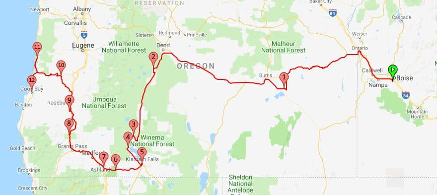 2018 Route Boise to Coos Bay