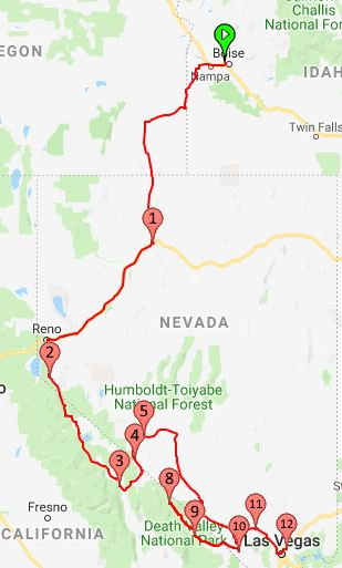 2018 Route from Boise to Las Vegas