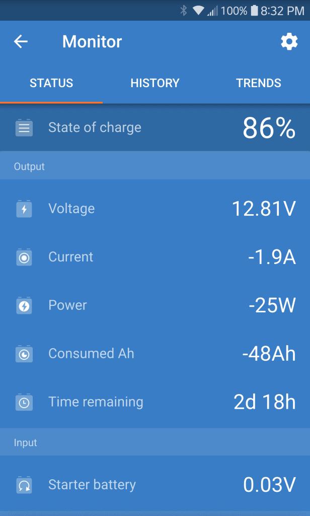 Phone screenshot Victron Bluetooth Battery Monitor (AGM battery 2018)