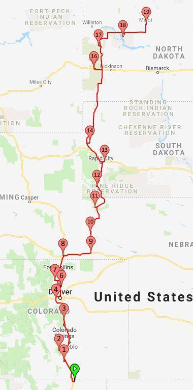 2019 Route Colorado to Minot North Dakota
