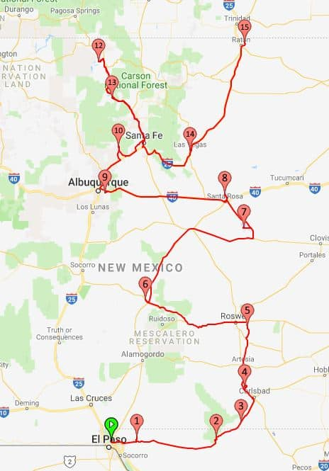 From El Paso Texas to Raton New Mexico map