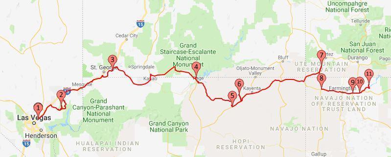 2018 Route Las Vegas to New Mexico