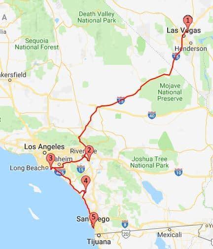 2018 Route Las Vegas to San Diego