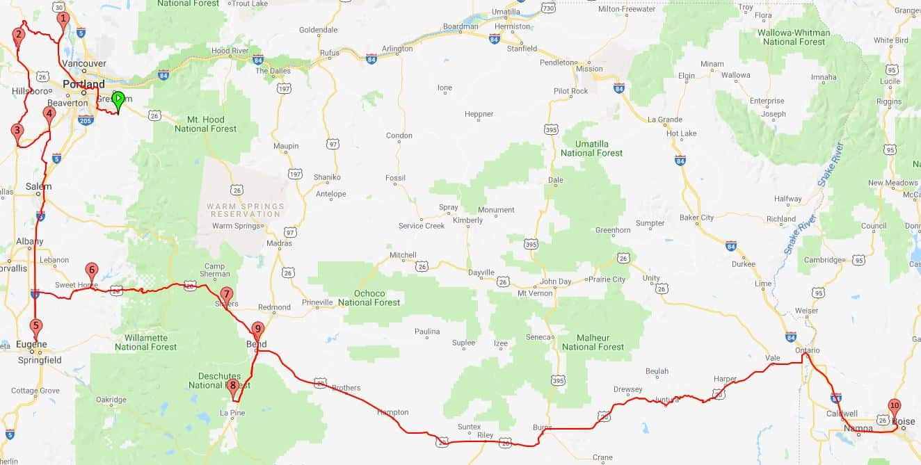 2018 Route Portland to Boise
