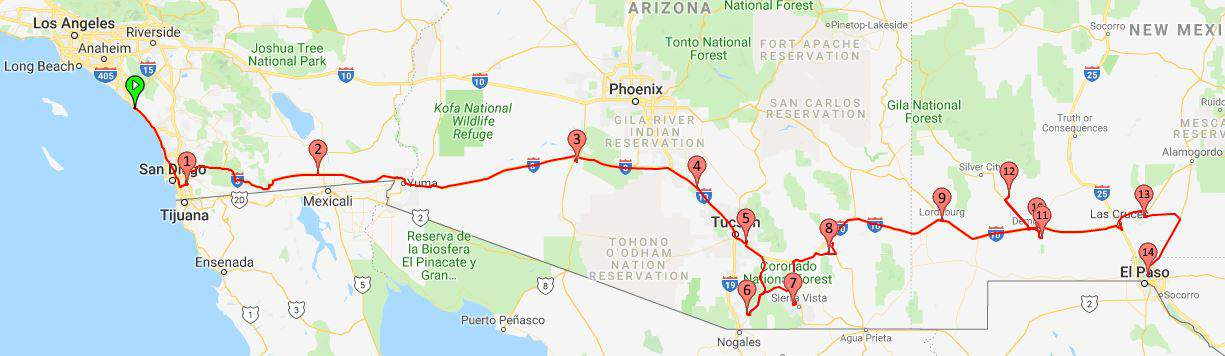 From San Diego California to El Paso Texas map