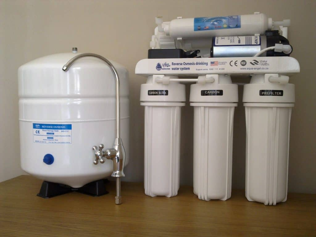 Stock Photo Reverse Osmosis Water Filter and Tank