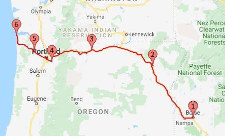 2019 Route Boise to Oregon Coast