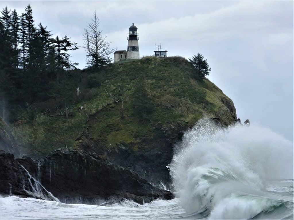 Cape Disappointment Light House Waves Crashing Washington Coast