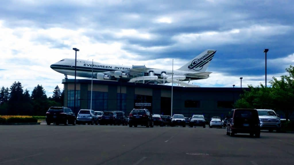 Boing 747 as part of a water slide on the roof of Evergreen Wind and Waves Waterpark, McMinnville, Oregon