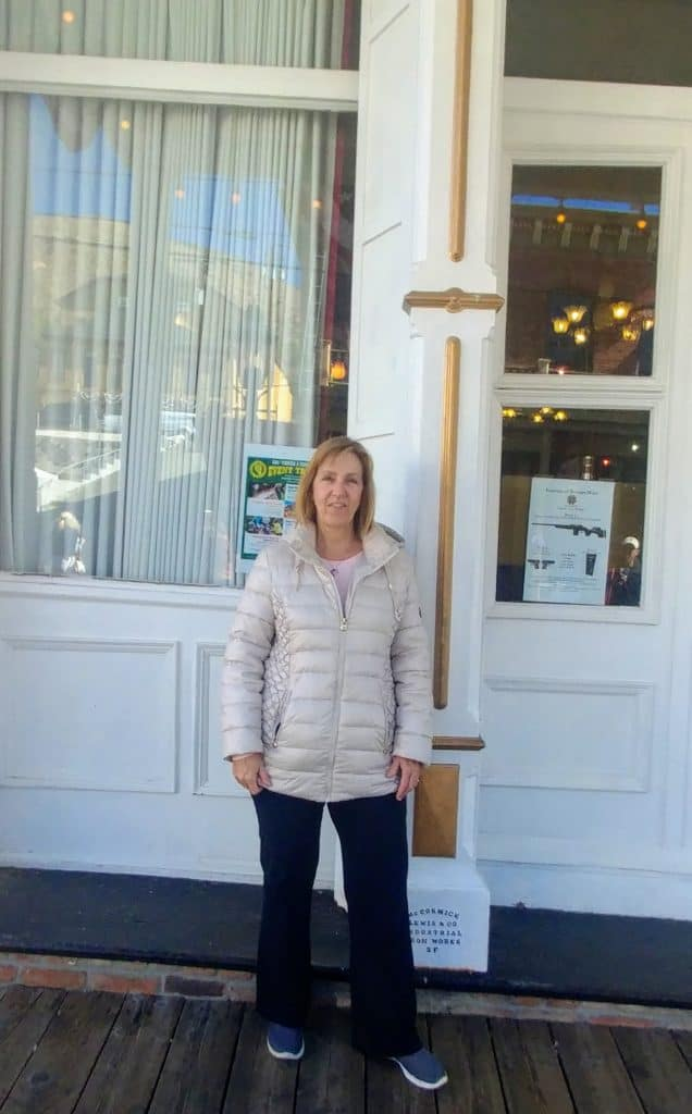 Tami in front of a saloon in Carson City