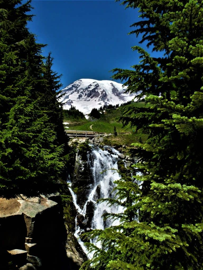 Myrtle Falls and Mount Rainier from the Paradise Area