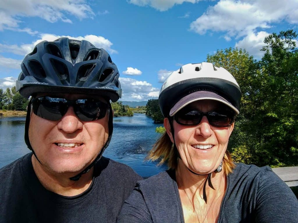 Scott and Tami with a view of Willamette River, Eugene, Oregon