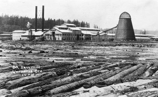 Logs on Mill Pond and Saw Mill, Historic Photo, Vernonia, Oregon