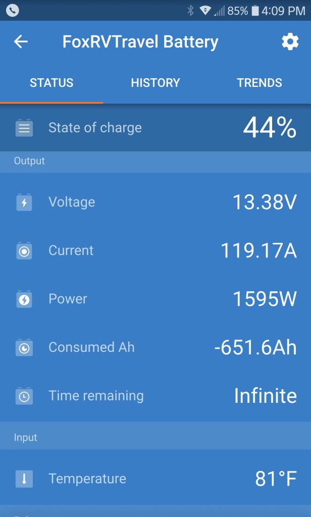 Charging at 13.38 volts, 119.17 amps