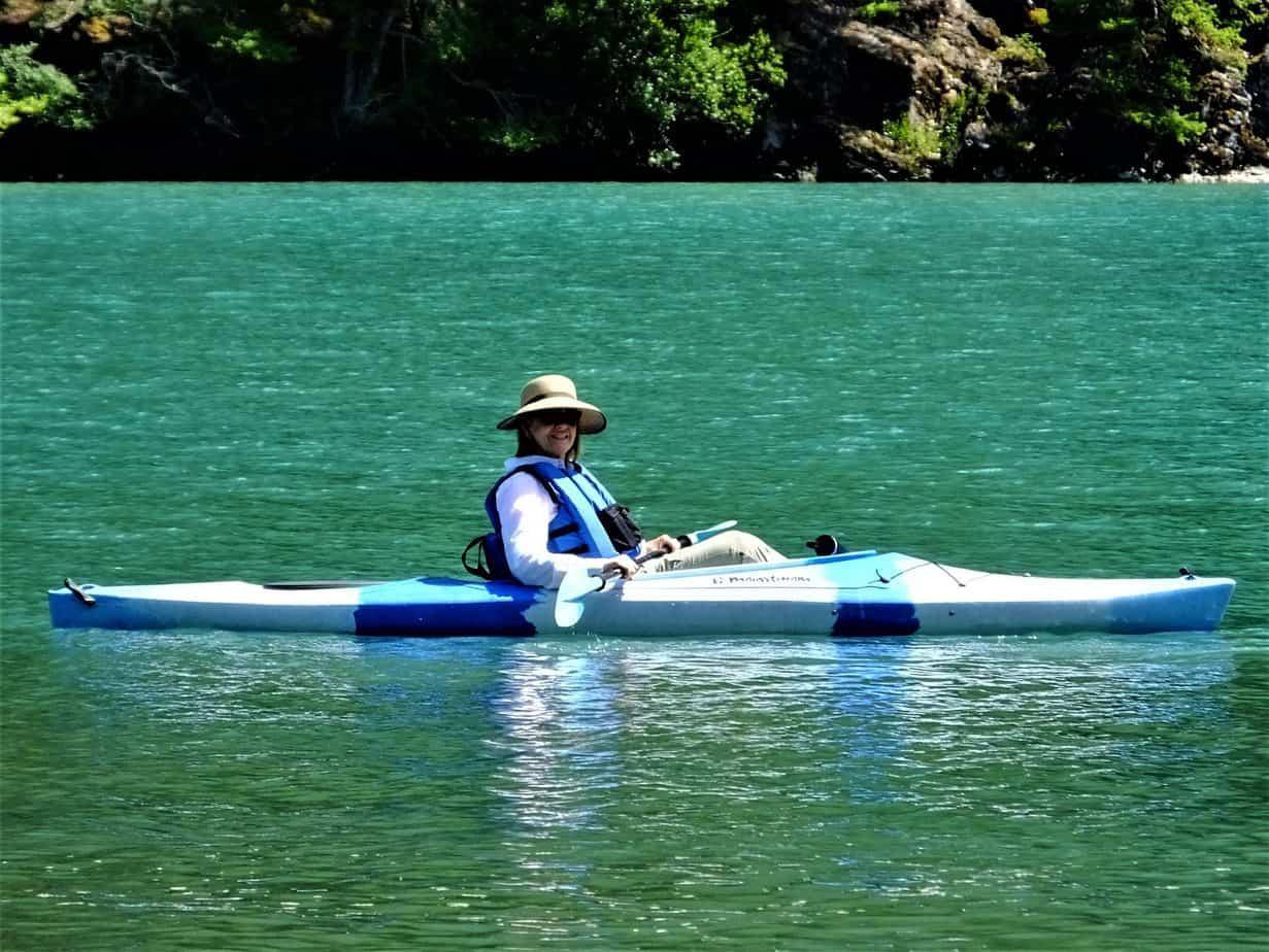 Tami kayak on Diablo Lake
