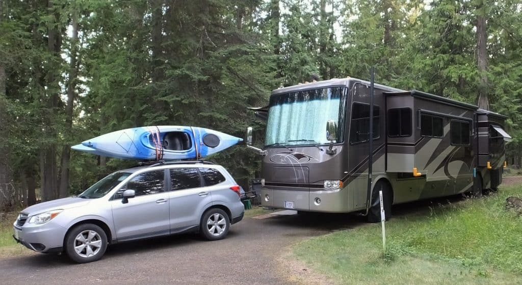 Our RV and toad mule at Sam Owen Campground.
