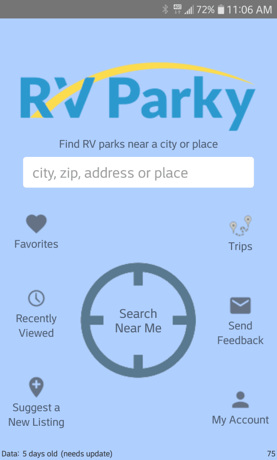 Snippet: RV Parky Route Planning Cell Phone Application Home Page