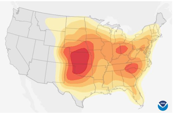 Probability of Severe Weather in the first week of June.