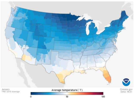 Temperature in January