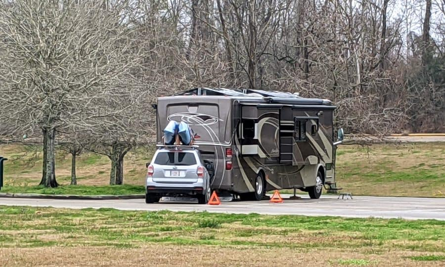 """Louisiana Welcome Center. This is the third """"rest"""" area we have camped in in the last two weeks. It was very nice,  Yes we slept quite well."""