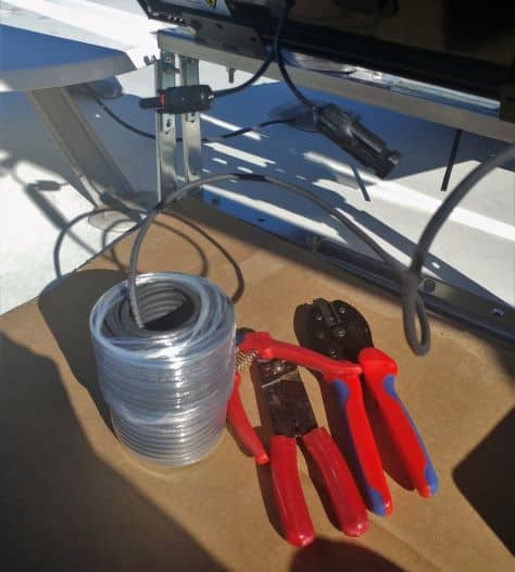 100 feet of 10-gauge wire and crimp tools