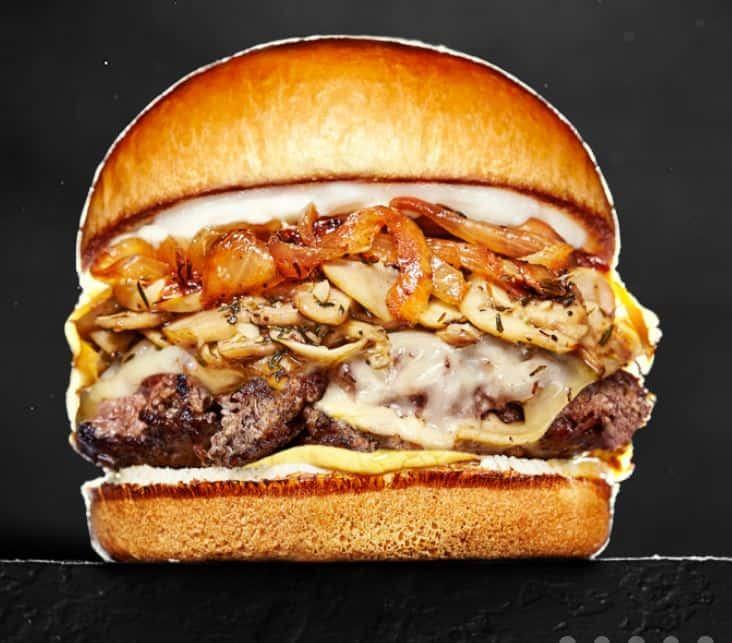 Bulldog Burger Mushroom and Swiss Burger
