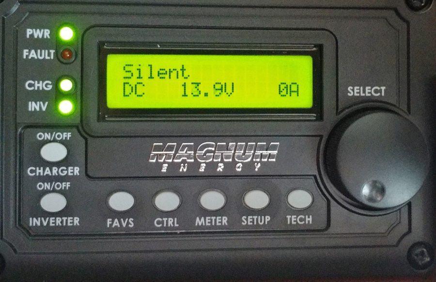Magnum Inverter Control Panel Lithium battery voltage