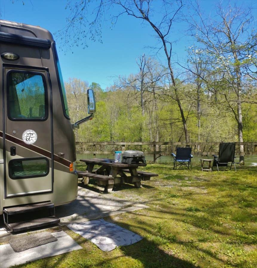 Our riverfront campsite on the Carney Fork River
