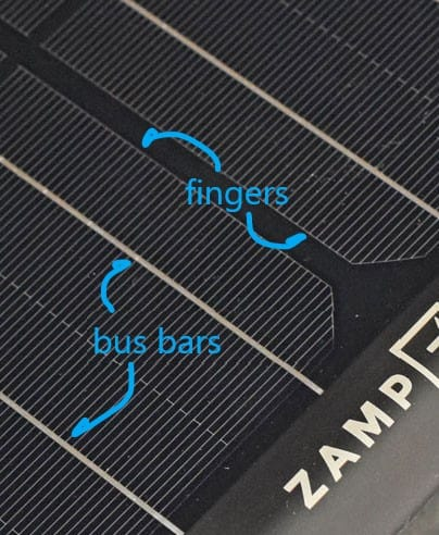 solar cell fingers and bus bars