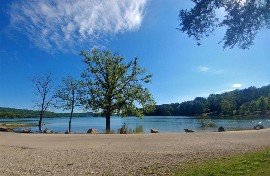 View of Norris Lake across from our campsite at Loyston Point north of Knoxville.