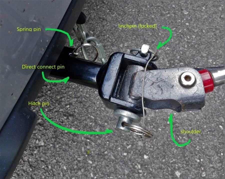 Tow bar attached to direct connect pin with hitch pin and linchpin installed.
