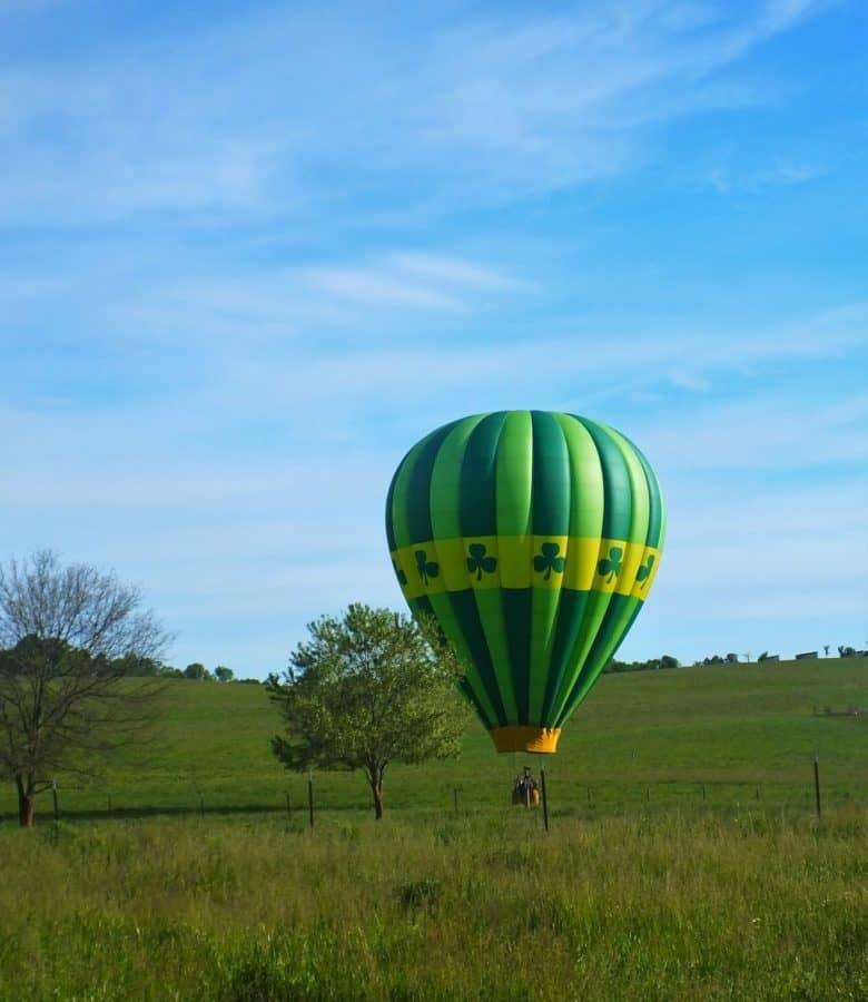 Balloon landing on the Lick Skillet Farm