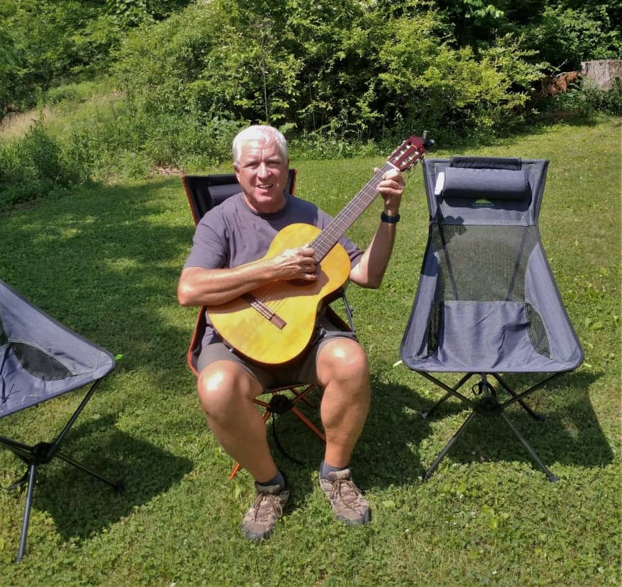 No arms makes our Ultra-Light Camp Chairs deal for playing the guitar.