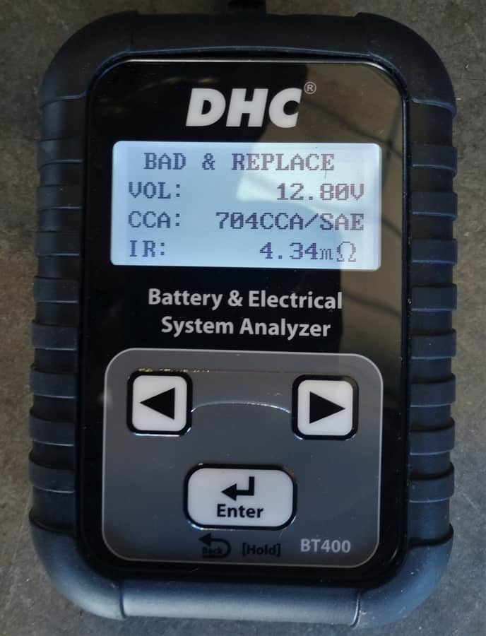 The DHC tester attached to my RV start batteries. I have at least a dozen pictures like this one -- none of them good.