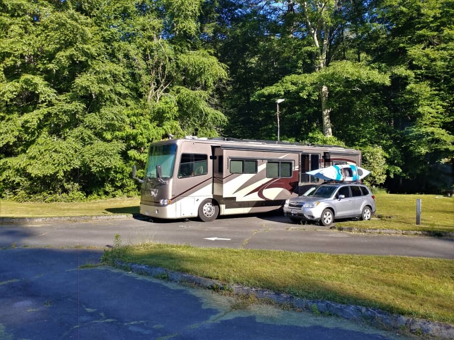 Our RV and car in site 8 at Linville Falls Campground