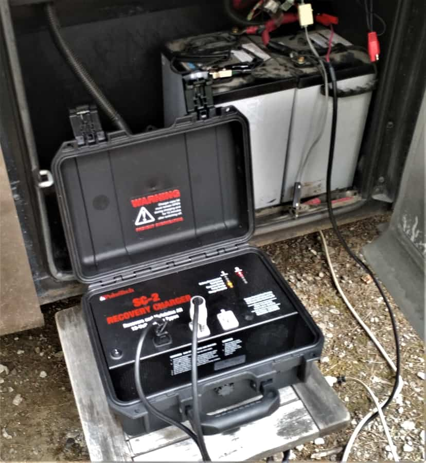 """The SC-2 Recovery Charger """"boosting"""" my AGM batteries. Which wasn't needed, but they lent me the equipment so I used it."""