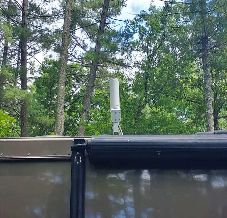 Surecall Cell Phone Booster RV antenna on a 5 inch mast.