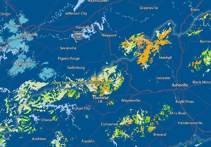 AT&T converage map of the Smoky Mountains U.S. Light blue = 5g and dark blue = 4g green = off network coverage and tan = no coverage.