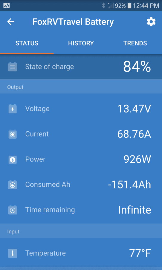 Battery screen capture showing 84% charge and power (minus power being currently used) at 926 watts.