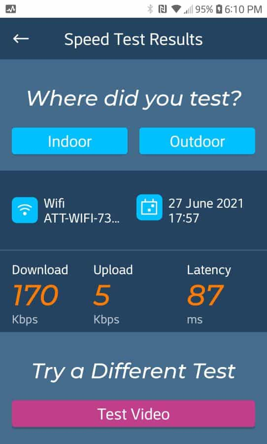 AT&T speed before installing booster.