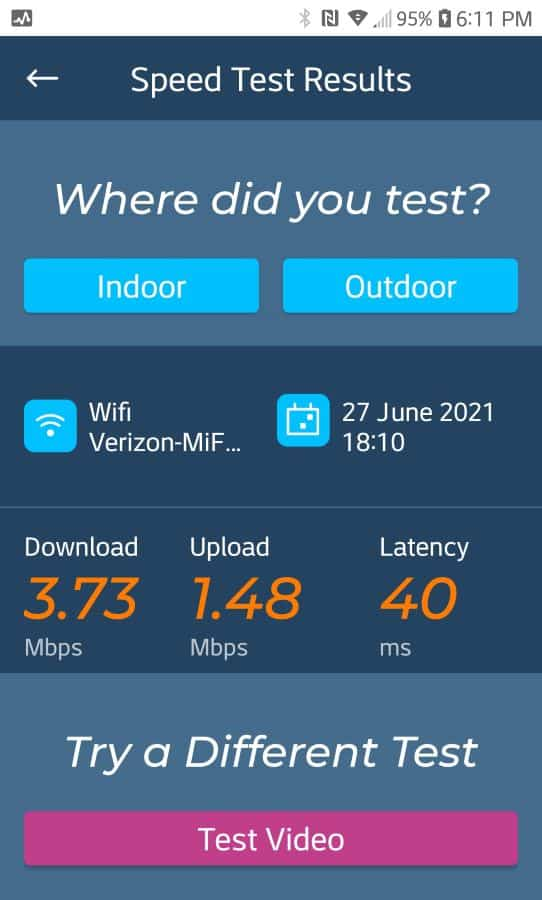 Verizon speed before installing booster.