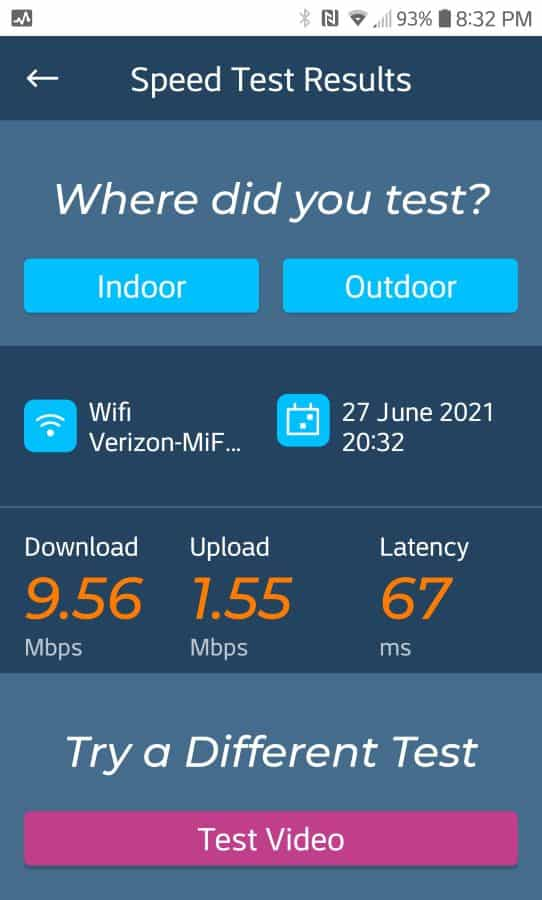 Verizon speed after installing booster with omni antenna.