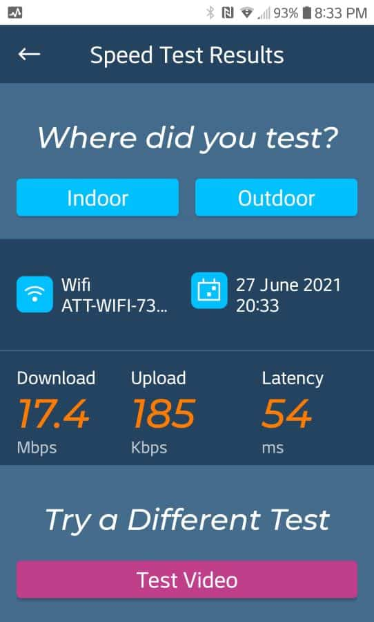 AT&T speed after installing booster with omni antenna.