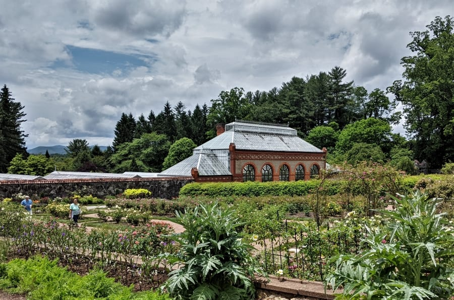 Looking across the rose garden at the Biltmore Conservatory.