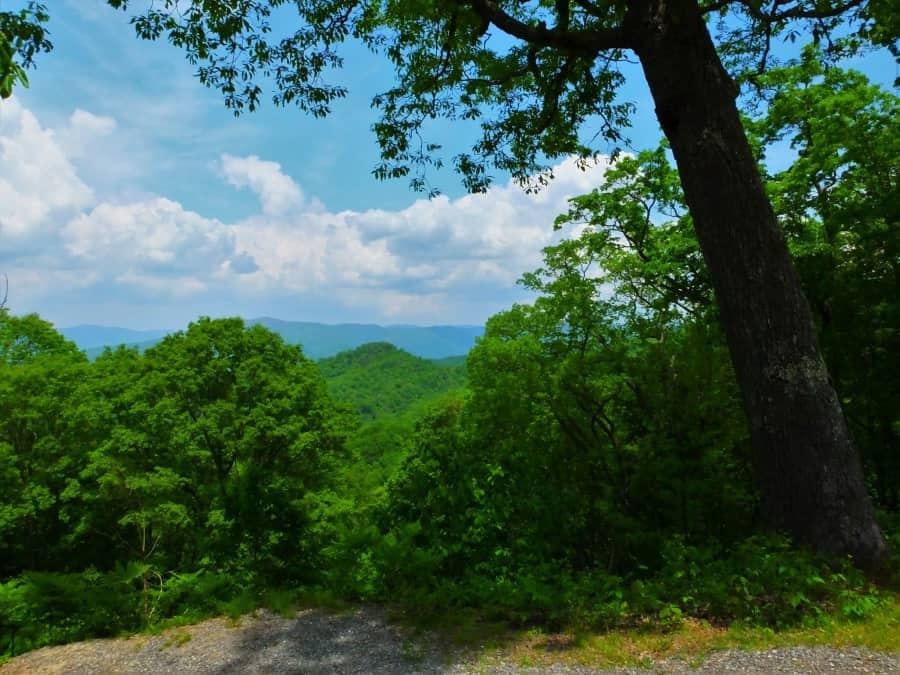 Roadside vista of the Smoky Mountains