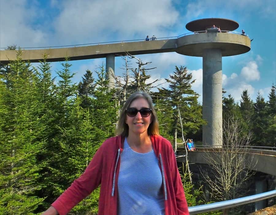 Tami at the top of Clingmans Dome,